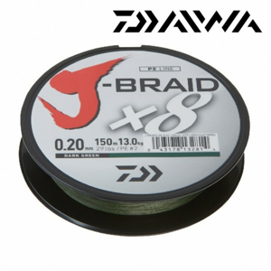 Pletená Šňůra Daiwa J-Braid 8 Tmavě Zelená 300m 0,06mm/4kg