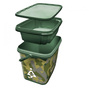 Kbelík Bait-Tech Square Camo Bucket with Insert Tray 8l