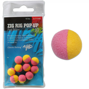 10ks - Pěnová Nástraha Giants Fishing Zig Rig Pop-Up 10mm Řůžovo-žlutá