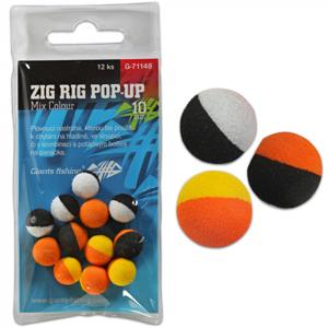 12ks - Pěnová Nástraha Giants Fishing Zig Rig Pop-Up Mix Color Průměr 14mm