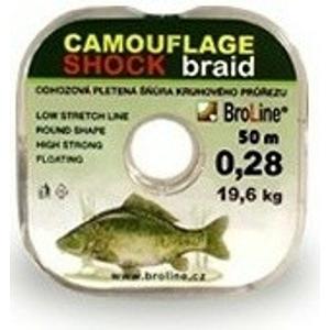 Pletená Odhozová Šňůra BroLine Camouflage Shock 50m 0.28mm/19.6kg