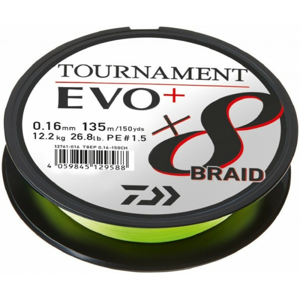 Pletená Šňůra Daiwa Tournament X8 Braid Evo+ Chartreuse 135m 0,12mm 8,6kg