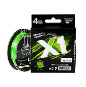 Pletená Šňůra Favorite X1 PE 4x Světle Zelená 150m 0,09mm 2,9kg