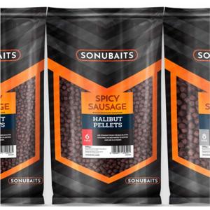 Dipované pelety sonubaits spicy sausage halibut pellets 900gr průměr