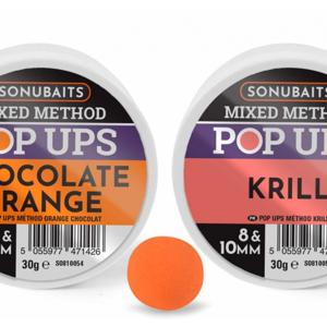 Plovoucí Boilies Sonubaits Mixed Method Pop Ups Chocolate Orange