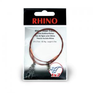 Ocelové Lanko Rhino Steel Trace Barrel-Type Swivel + Safety Swivel 1x7 50cm 0,33mm