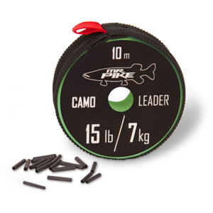 Návazcová Šňůra Quantum Mr. Pike Camo Coated Leader Material 10m Kamufláž Nosnost 14kg