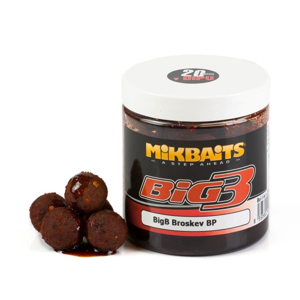 Mikbaits boilies Legends v dipu BigB Broskev Black pepper 250ml 24mm