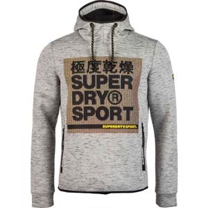 Superdry CORE GYM TECH STRTCH GRPHC OVERHEAD šedá M - Pánská mikina